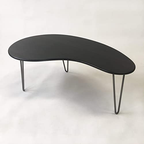 Black Mid Century Modern Coffee Table – Kidney Bean Shaped – Atomic Era Biomorphic Boomerang Design In Dyed Bamboo