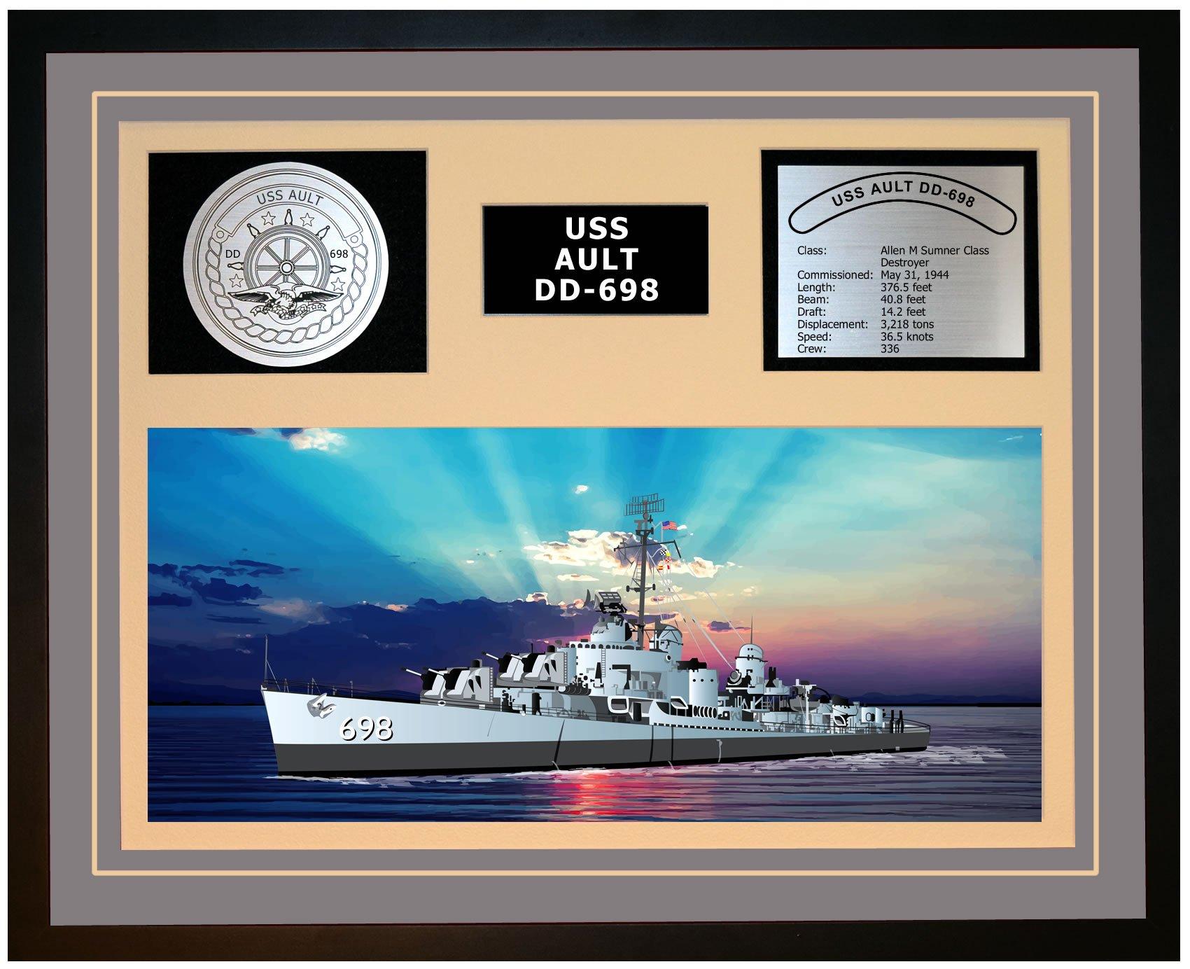 Navy Emporium USS Ault DD 698 Framed Navy Ship Display Grey