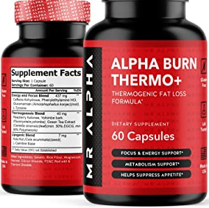 Alpha Burn Thermogenic Fat Burner For Men - Metabolism, Focus, Energy Booster, Appetite Suppressant Diet Pills Weight Loss Supplement, L-Carnitine, Raspberry Ketones, Green Tea, 60 Caps - Made in USA