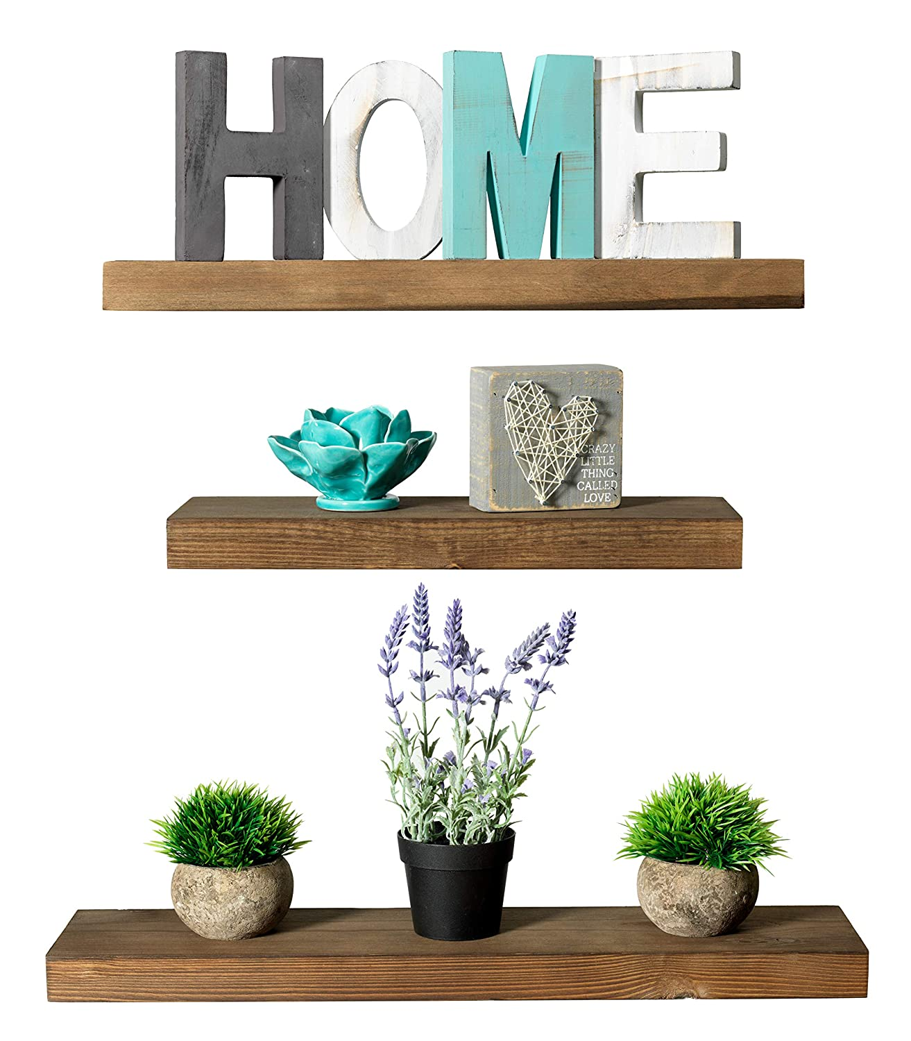Rustic Farmhouse 3 Tier Floating Wood Shelf - Floating Wall Shelves (Set of 3), Hardware and Fasteners Included (White Oak, 3 Tier)