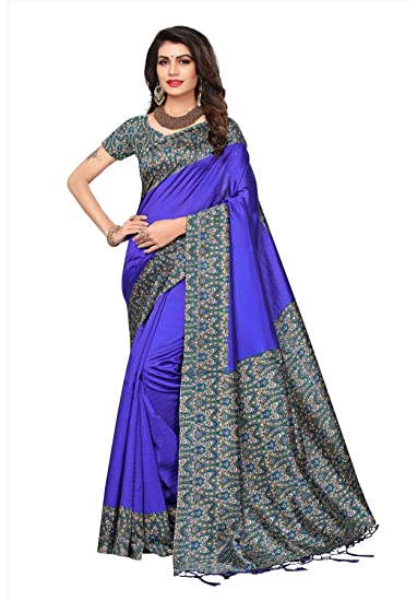 3c68e944984 Salwar Studio Women s Purple   Green Mysore Silk Printed Saree with Blouse  Piece-MYSORE-SILK-22  Amazon.in  Clothing   Accessories