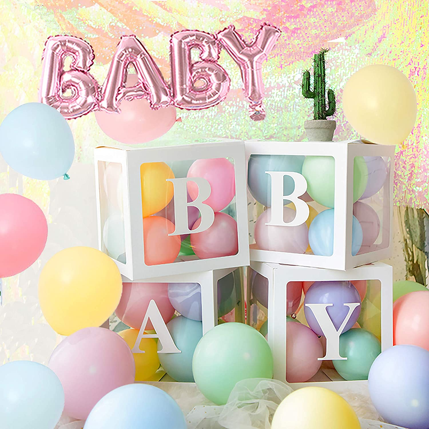 Baby Shower Decoration Balloon Box - 4 pcs Transparent Balloons Blocks with Letter BABY with balloons, centerpieces party favors for baby girl boy birthday gender reveal backdrop (macaron)