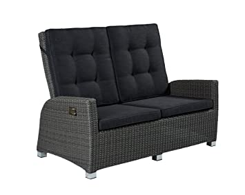 Poly Rattan Luxus 2 Sitzer Lounge Rocking Sofa Verstellbare