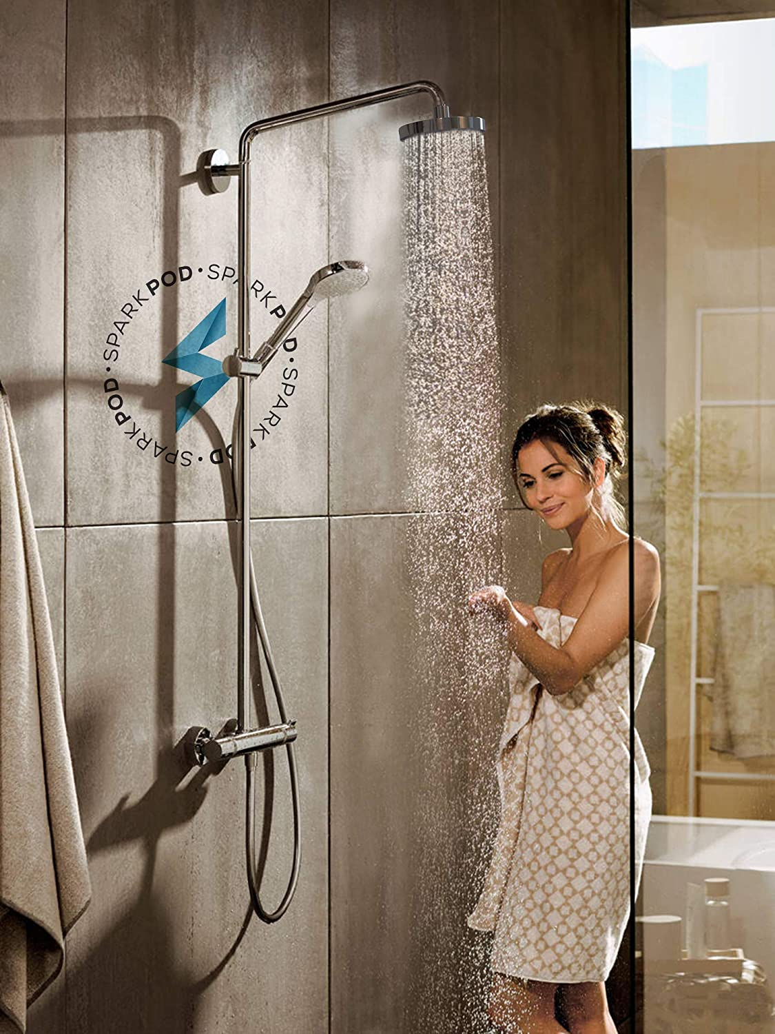 High Pressure Rain Luxury Modern Look SparkPod Shower Head The Perfect Adjustable /& Heavy Duty Universal Replacement for Your Bathroom Shower Heads Easy Tool Free Installation