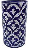 Indian Blue Art Pottery Pencil Holder, 7.5 cm x 13 cm