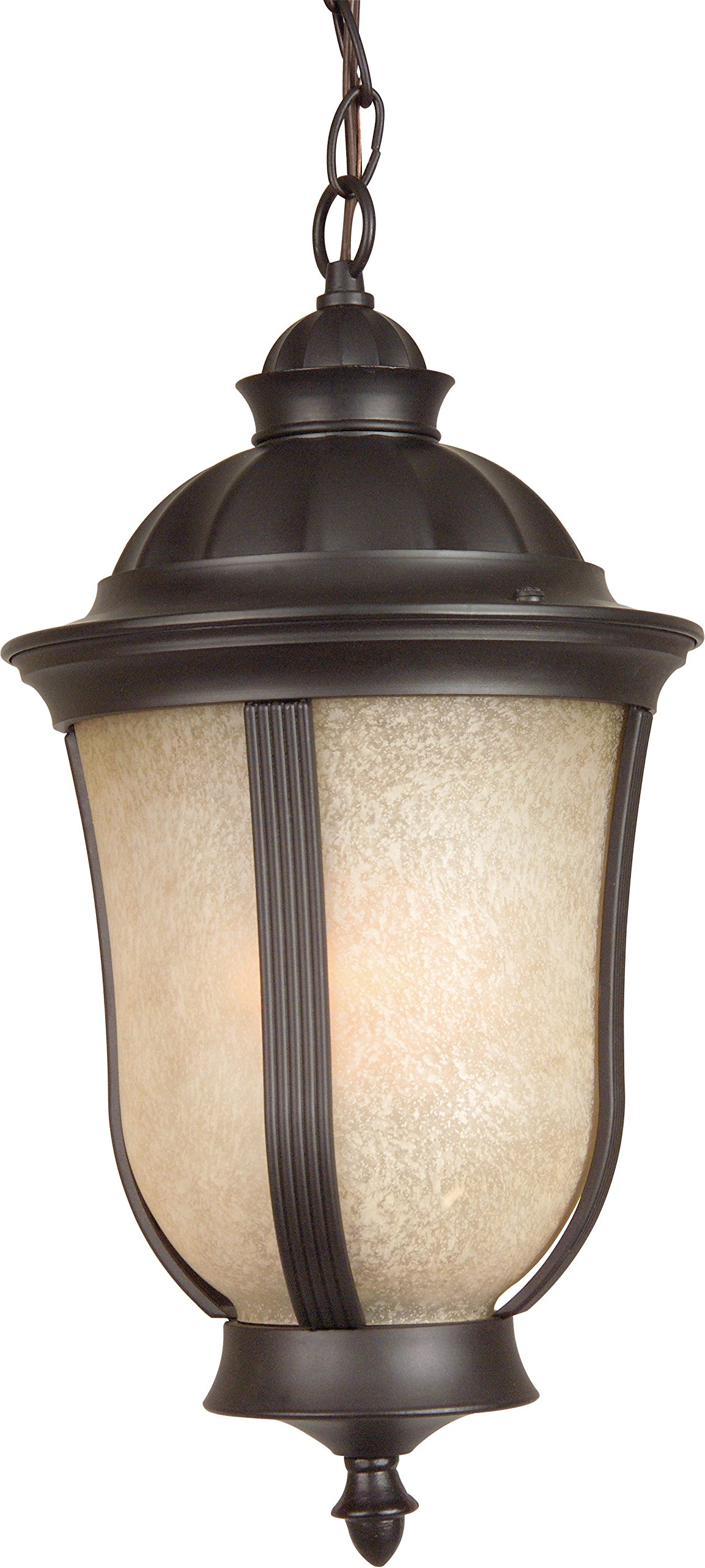 Craftmade Z6111-92 Hanging Lantern with Antique Scavo Glass Shades, Bronze Finish by Craftmade