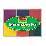 "Melissa & Doug Rainbow Stamp Pad, Arts & Crafts, Multicolored Inkpad, Washable Ink, 6 Bright Colors, 6.5"" H x 4.95"" W x 0.8"" L"