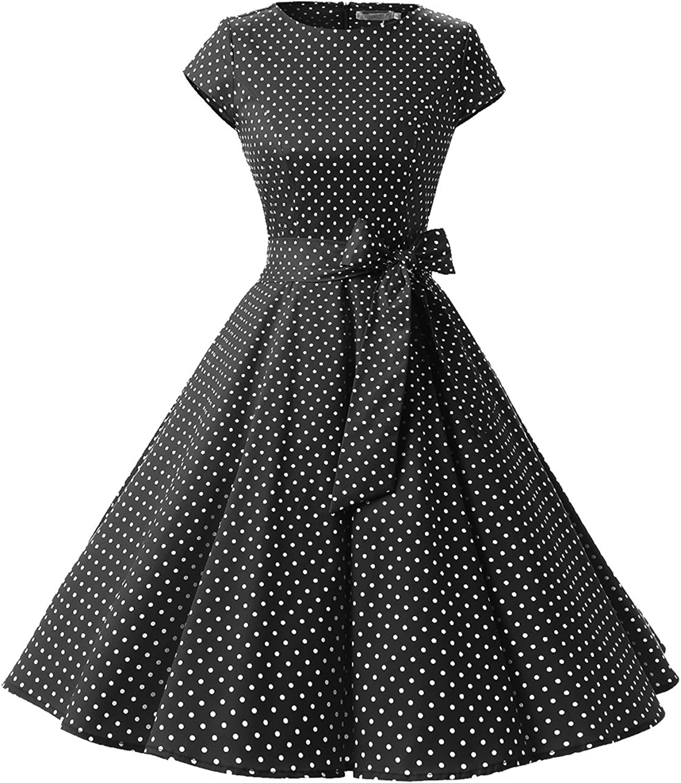 TALLA XL. Dressystar Vestidos Coctel Corto Vintage 50s 60s Manga Corta Rockabilly Elegante Mujer Black White Dot A XL