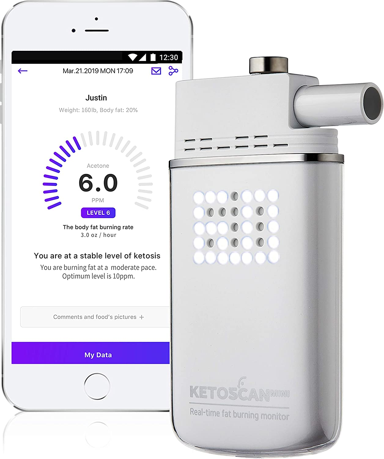 [Upgraded V2] KETOSCAN Mini Breath Ketone Meter   Monitor Your Fat Metabolism or Level of Ketosis on Low carb, Ketogenic, Paleo Diet or Any Nutrition and Fitness Program