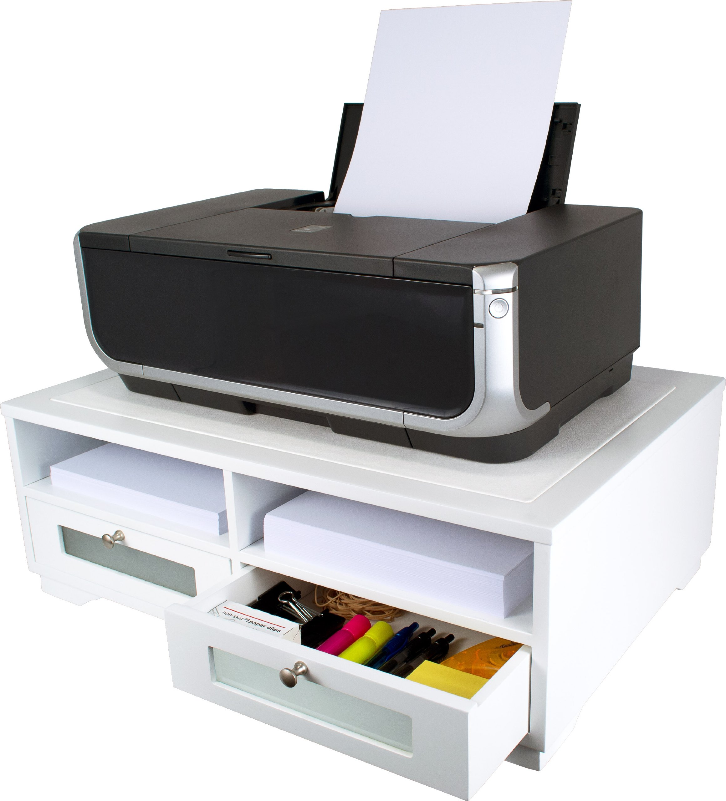 Victor W1130 Pure White Wood Printer Stand