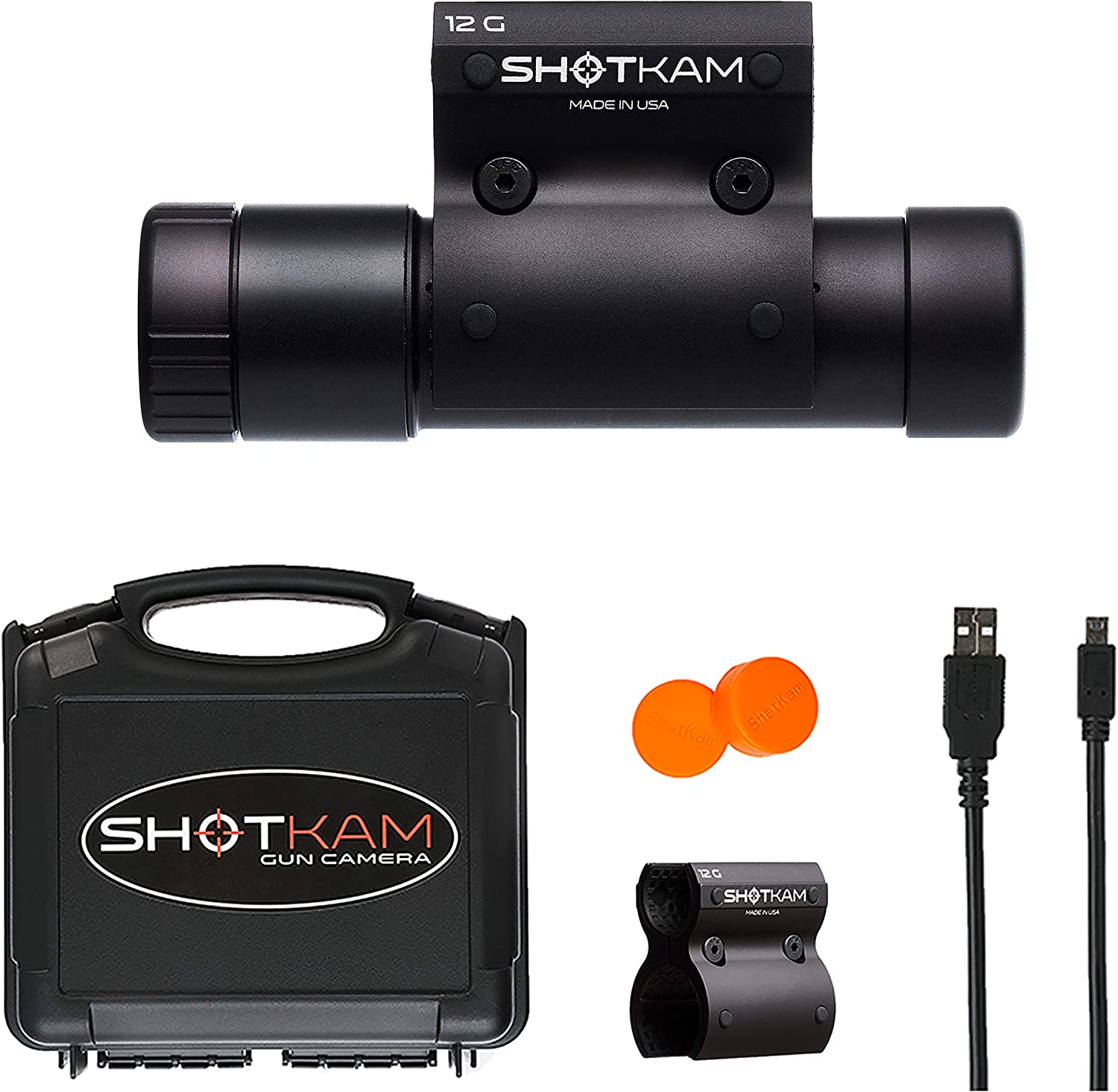 ShotKam 12-Gauge Model 3rd Gen – Digital Action Camera with Mounting Bracket for Clay Target Sports and Hunting, Black