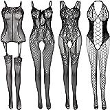 Women's Lace Stockings Lingerie Floral Fishnet Bodysuits Lingerie Nightwear for Romantic Date Wearing