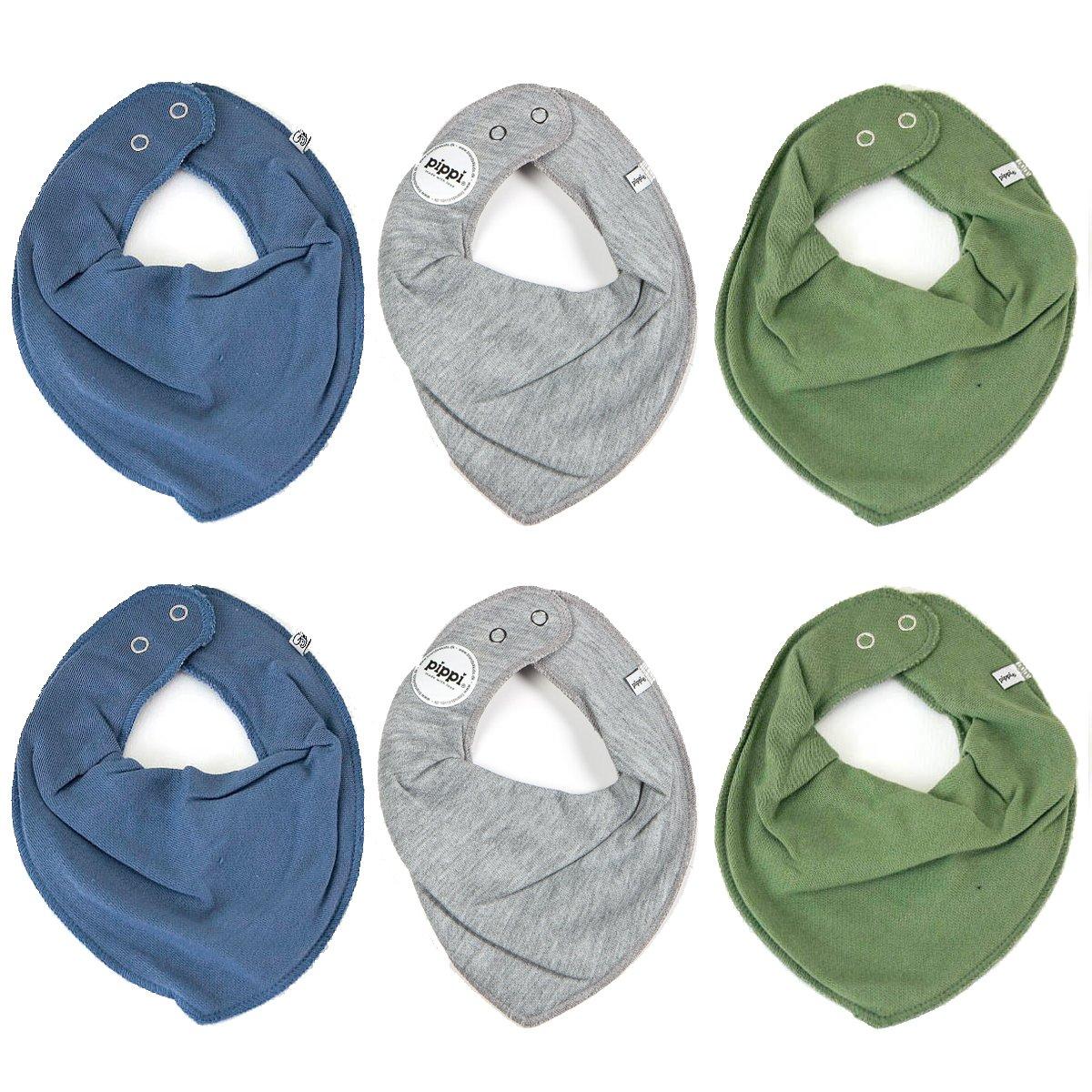 Pippi 6er Pack Baby Jungen Halstuch, Farbe: Grau, Blau und Grün, One Size Blau und Grün