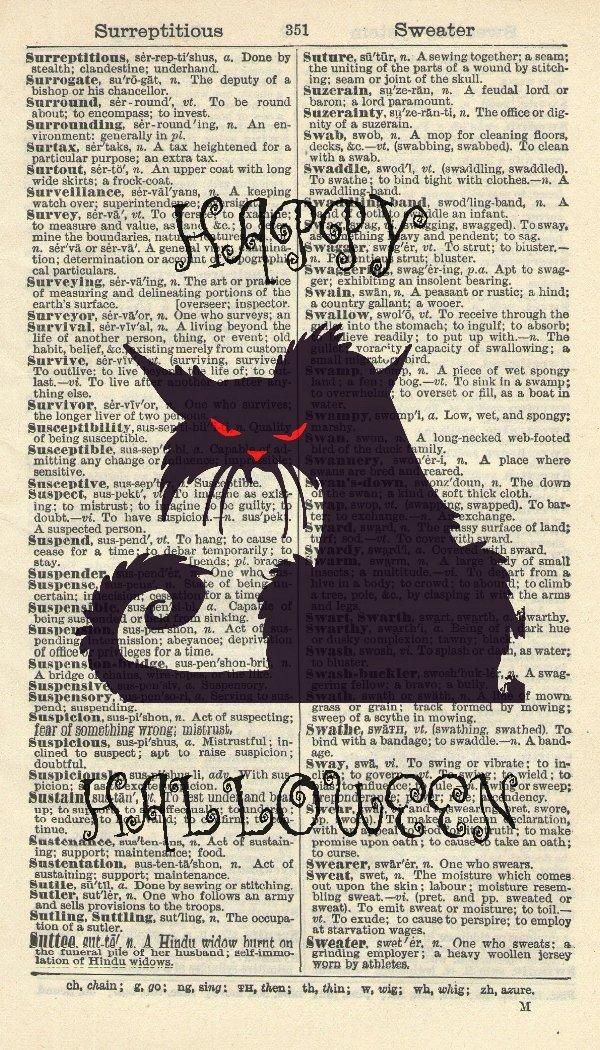 Black Cat Art Print - Animal Art Print – Happy Halloween Illustration - Contemporary Art - Vintage Art Print - Vintage Dictionary Art Print - Artwork – Wall Hanging - Book Print 750B