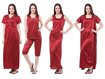 Fasense Women's Satin Nightwear Set - Pack of 4 Dressing Gowns & Kimonos at amazon