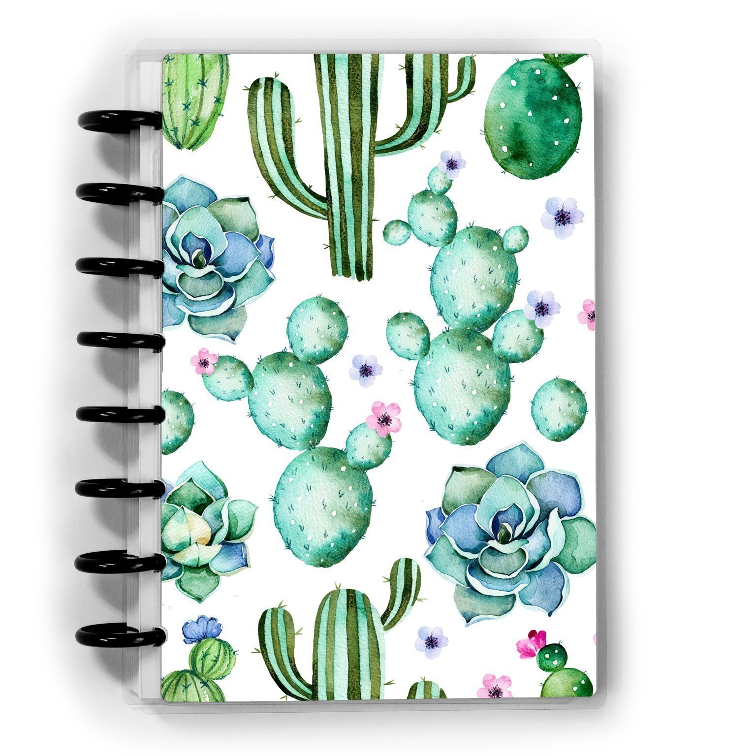 Discbound or Spiral Succulent Notebook Journal, Dot Grid Lined or Graph
