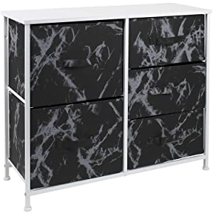 Sorbus Dresser with 5 Drawers - Furniture Storage Tower Unit for Bedroom, Hallway, Closet, Office Organization - Steel Frame, Wood Top, Fabric Bins (5-Drawer Dresser Chest, Marble Black – White Frame)