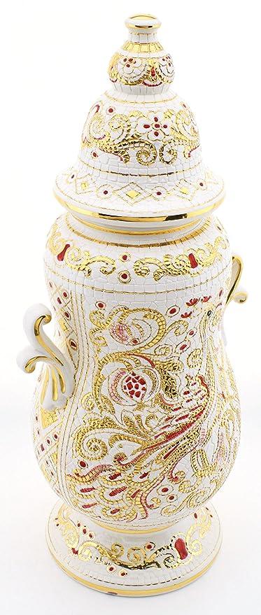 Art Escudellers Tarro Ceramica Pintado a Mano con Oro de 24K, Decorado al Estilo BIZANTINO