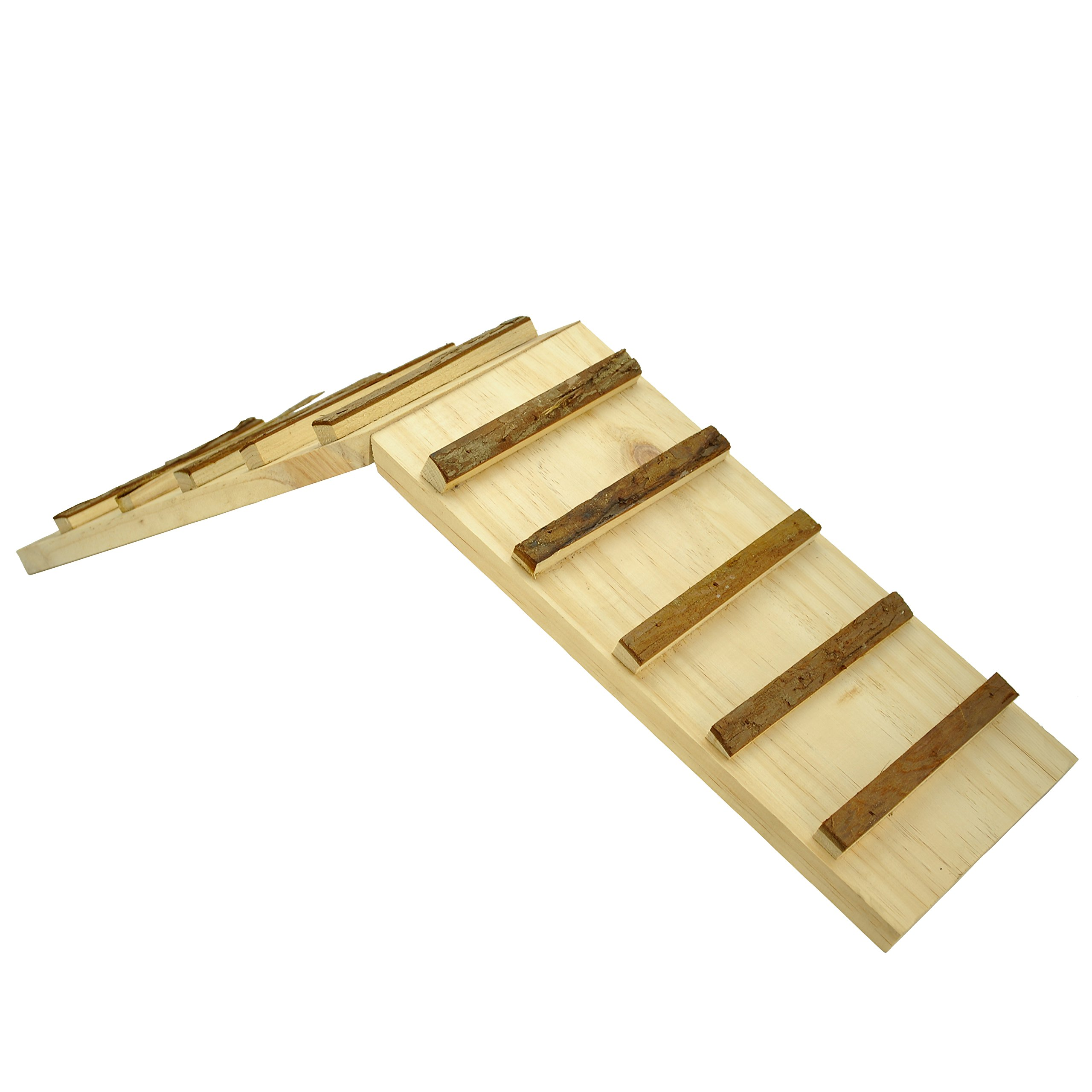 Niteangel Wooden Cage Bridge for Rabbits, Guinea Pigs and Chinchilla, Large Size (Square Stairs)