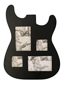 Rise8 Studios Guitar Body Shaped Music Picture Frame for 4x6 and 3x4 Photos (Black Wood Color)