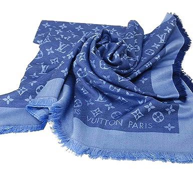 Designer Inspired Monogram Denim Shawl in Sky Aqua Blue Scarf -Wrap  Imitation Replica Luxurious High 8f369554b491a