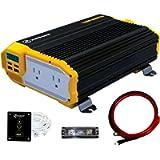 KRIËGER 1100 Watt 12V Power Inverter Dual 110V AC Outlets, Installation Kit Included, Automotive Back Up Power Supply…