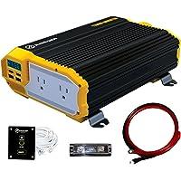 KRIËGER - Inversor de alimentación de 1100 W, 12 V, doble salida de CA de 110 V, kit de instalación incluido, fuente de…