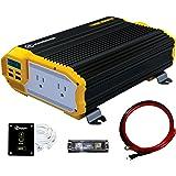 KRIËGER 1100 Watt 12V Power Inverter Dual 110V AC Outlets, Installation Kit Included, Automotive Back Up Power Supply For Ble