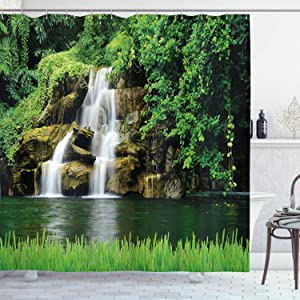 Ambesonne Waterfall Shower Curtain, Double Waterfalls Flow to Natural Green Lake with Bushes and Grass Like Garden Print, Cloth Fabric Bathroom Decor Set with Hooks, 75