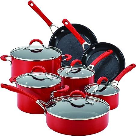 Circulon Innovatum Aluminum 12 – Piece Cookware Set, Red