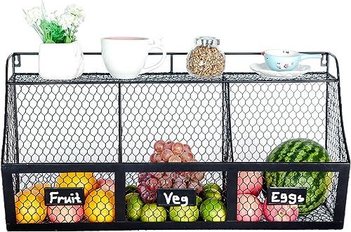 K-Cliffs 3 Compartment Wall Mount Metal Storage Basket Large Kitchen Hanging Fruit Basket Wire Organizer Produce Basket Rack Bin Black