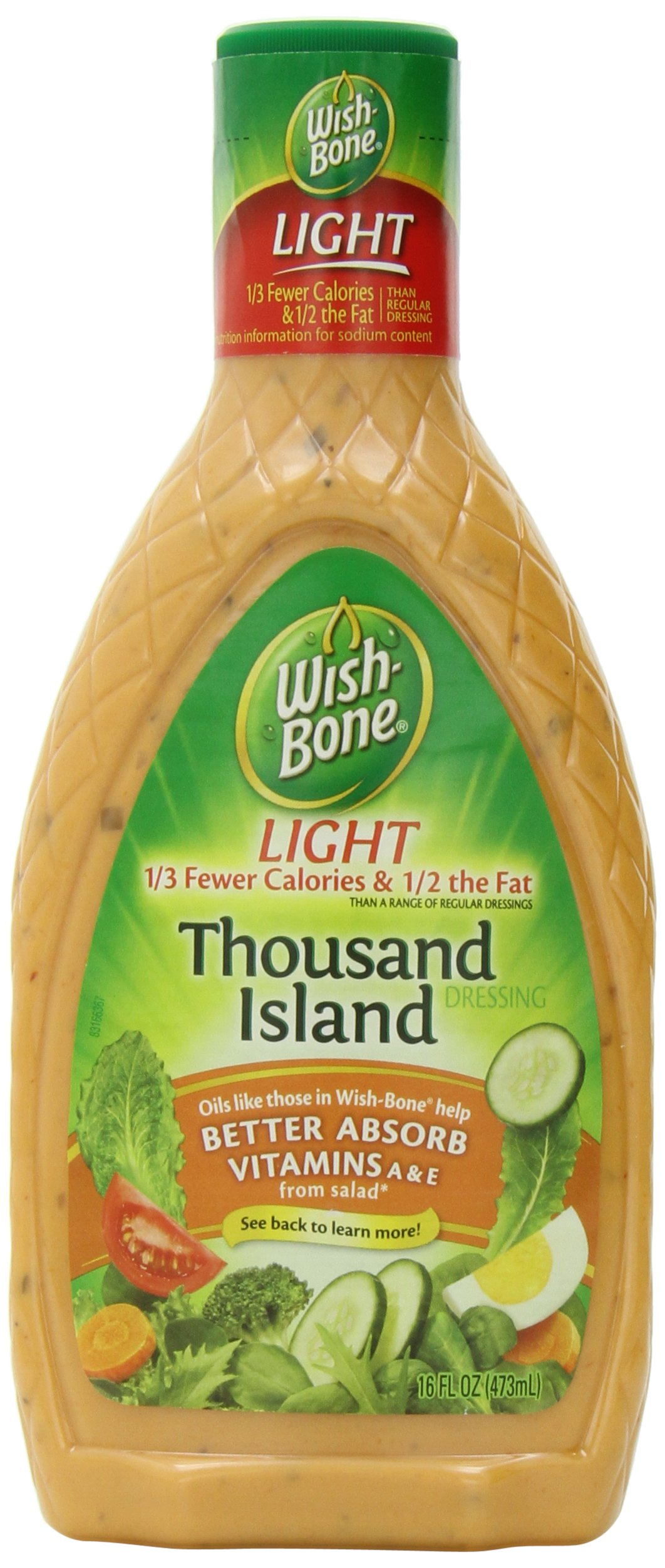Wish-Bone Salad Dressing, Light Thousand Island, 16 Ounce (Pack of 6)