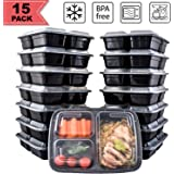 [15 Pack] FreshPREP Meal Prep Containers - Reusable, Stackable, BPA Free, Microwave, Freezer & Dishwasher Safe Fitness Meal Containers - Food Prepping Portion Control Container - 3 Compartment - 33oz