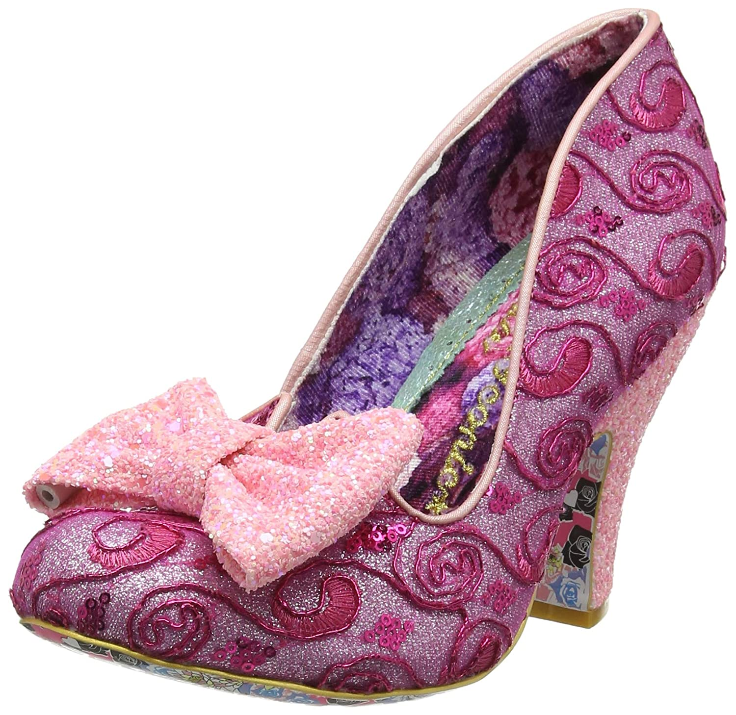 - Irregular Choice Womens Nick of Time Pink High Heel Court shoes Size