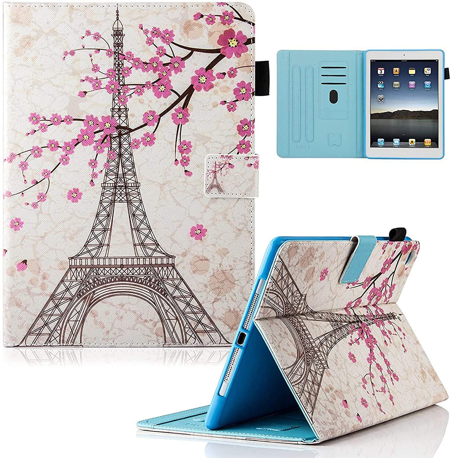 iPad 9.7 inch 2017 Case, iPad Air Case, iPad Air 2 Case, Dteck PU Leather Folio Smart Cover Stand Wallet Case with Auto Sleep Wake for iPad 2017 iPad 9.7 Inch,iPad Air 1, iPad Air 2, Eiffel Tower