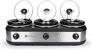 TRU Buffet Stainless Steel Slow Cooker 3-Crock Pot Set