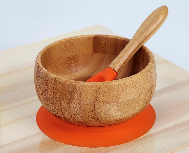 Kenley Bambus Rutschfeste Schüssel mit Saugnapf - Baby Kinder Breischalen Geschirr-Set mit Passendem Löffel und
