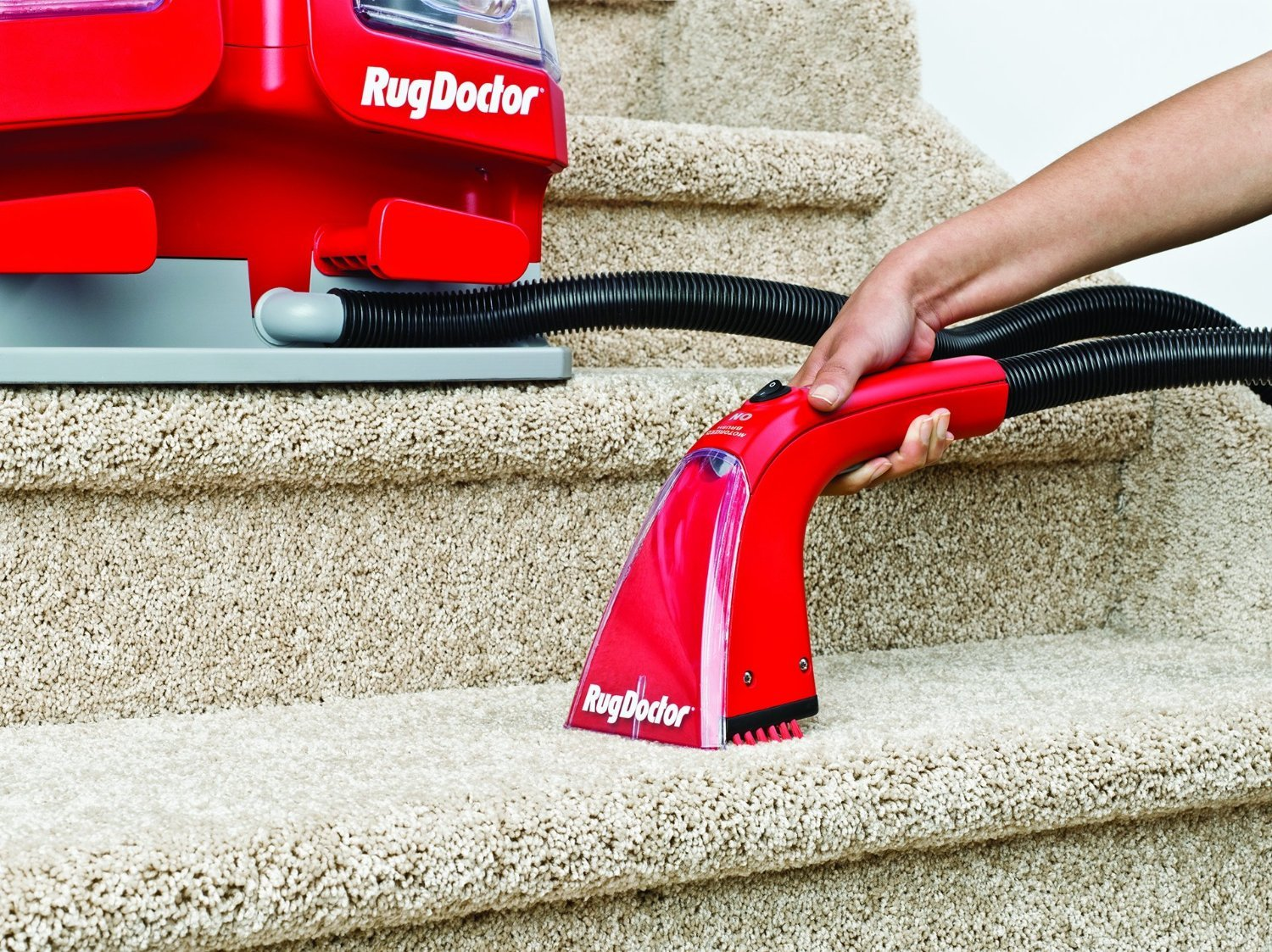 Buy a Rug Doctor Mighty Pro When you buy a Rug Doctor Mighty Pro carpet cleaning machine you will get free delivery, £50 worth of Rug Doctor chemicals and an upholstery kit.