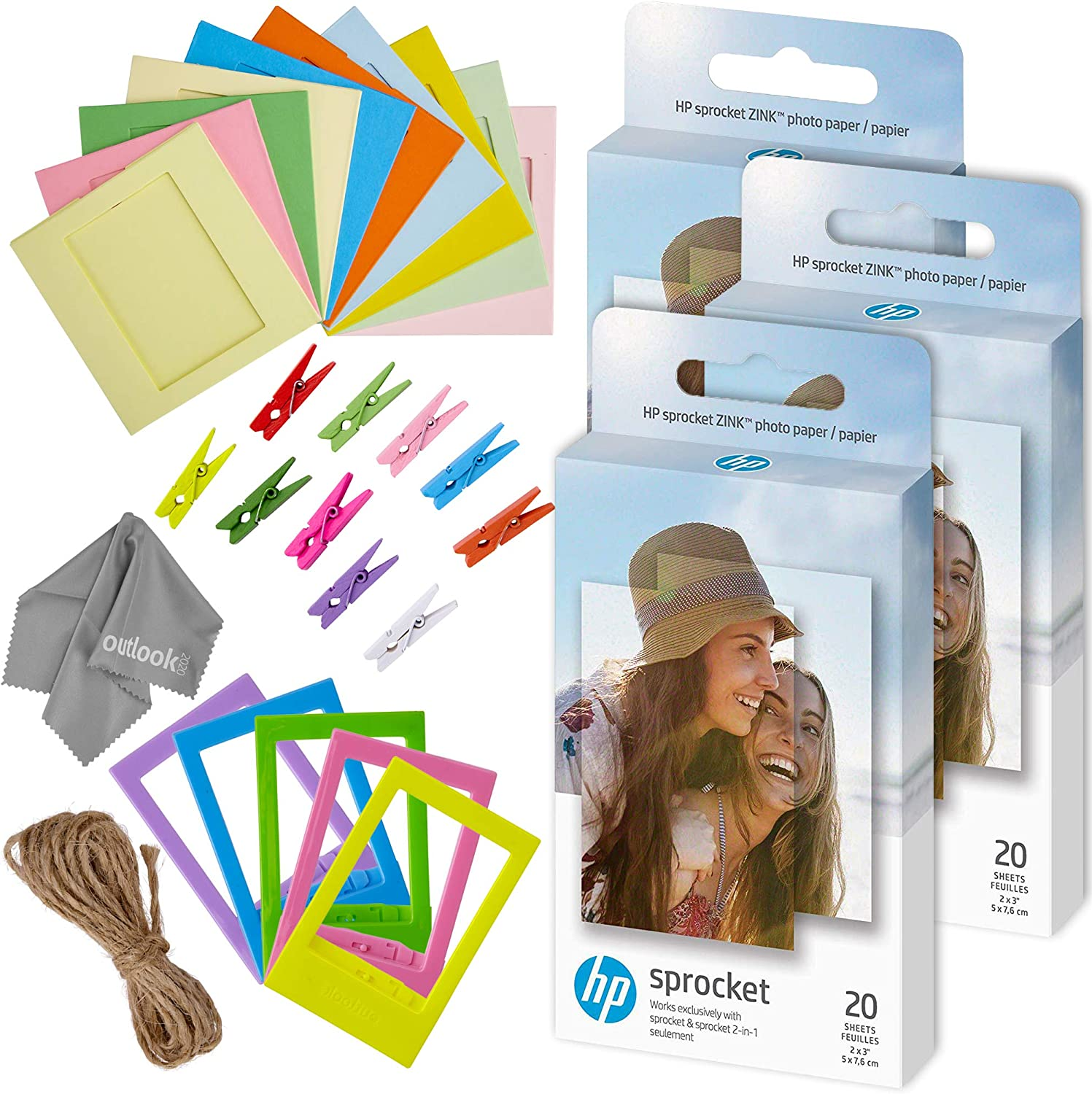 Zink 60 PK Photo Paper and Frames Bundle - Sticker Paper for HP Sprocket Printers - Sticky 2x3 Sheets for Printing Pocket Size Phone Pictures - with Frames, Hanging Clips, String