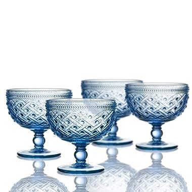 Elle Decor 229807-4PBBL Bistro Ikat Pedestal Bowls, 4.3  x 4.3 , Blue
