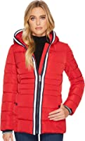 Tommy Hilfiger Womens Zip Front Horizontal Puffer with Hood