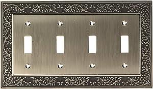 Amerelle English Garden Quadruple Toggle Cast Metal Wallplate in Antique Nickel