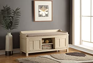 Acme Furniture Rosio Bench with Storage, Fabric & Cream