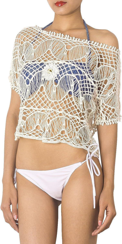 iB-iP Mujer Ganchillo Bikini Traje de baño de Cami de Hombro Camisa Corta Cubierta de túnica