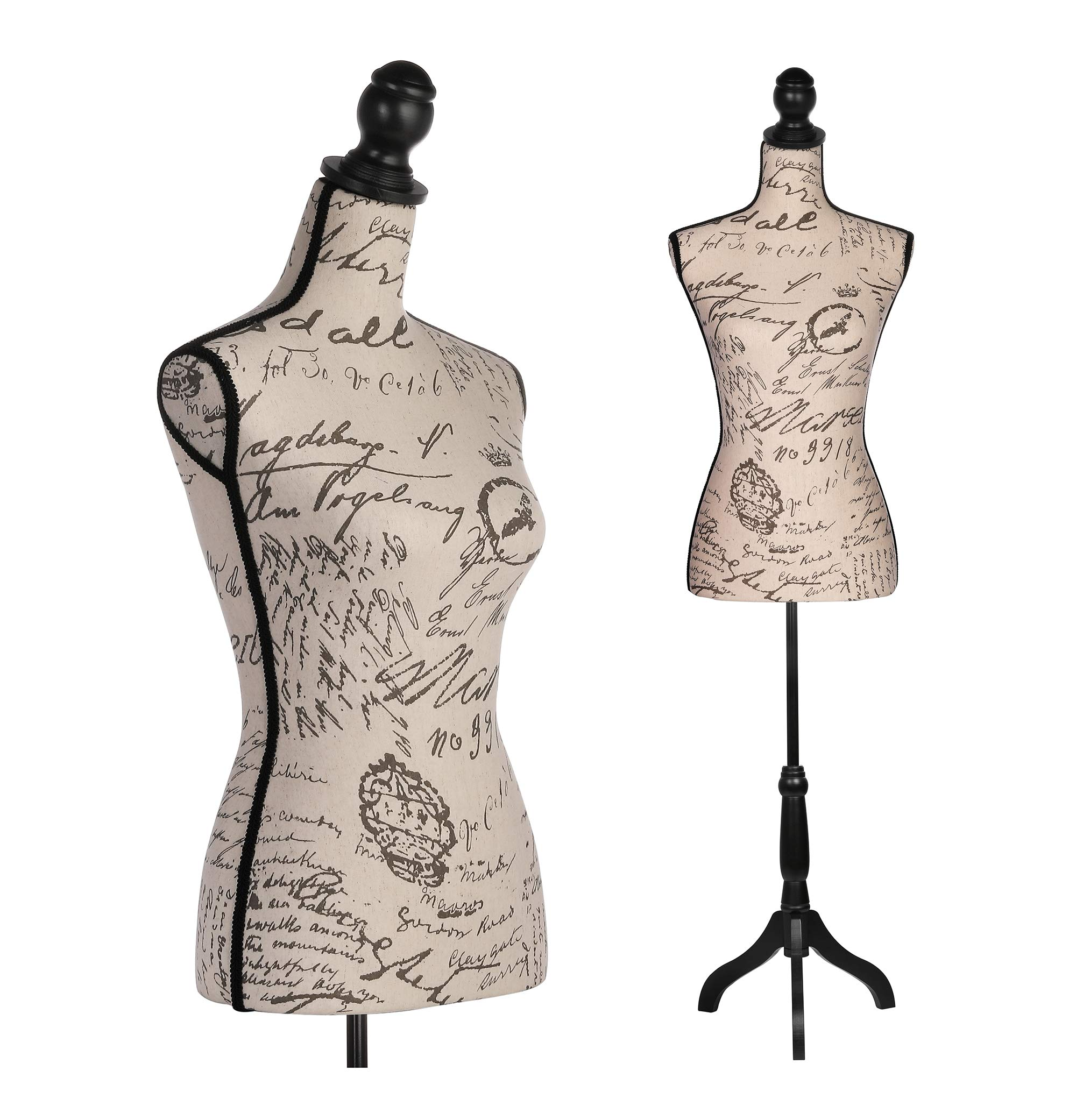 Female Dress Form Mannequin Adjustable Height Black Tripod Stand Woman Body Torso Clothing Display (Beige Printing)