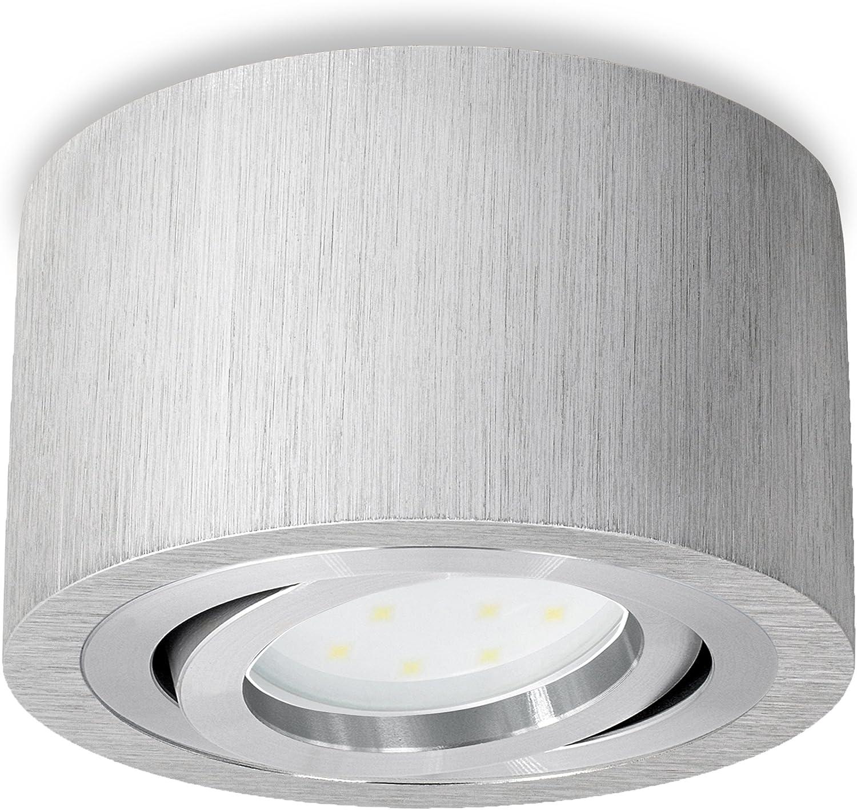 Schwenkbare LED Deckenleuchte rund & flach in Alu gebürstet inkl. fourSTEP LED-Modul 'Dimmen ohne Dimmer' - 5W warmweiß 230V: Amazon.de: Beleuchtung -