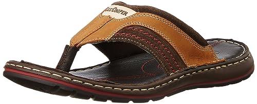 820513df8ef Lee Cooper Men s Tan Leather Flip Flops Thong Sandals - 11 UK  Buy ...