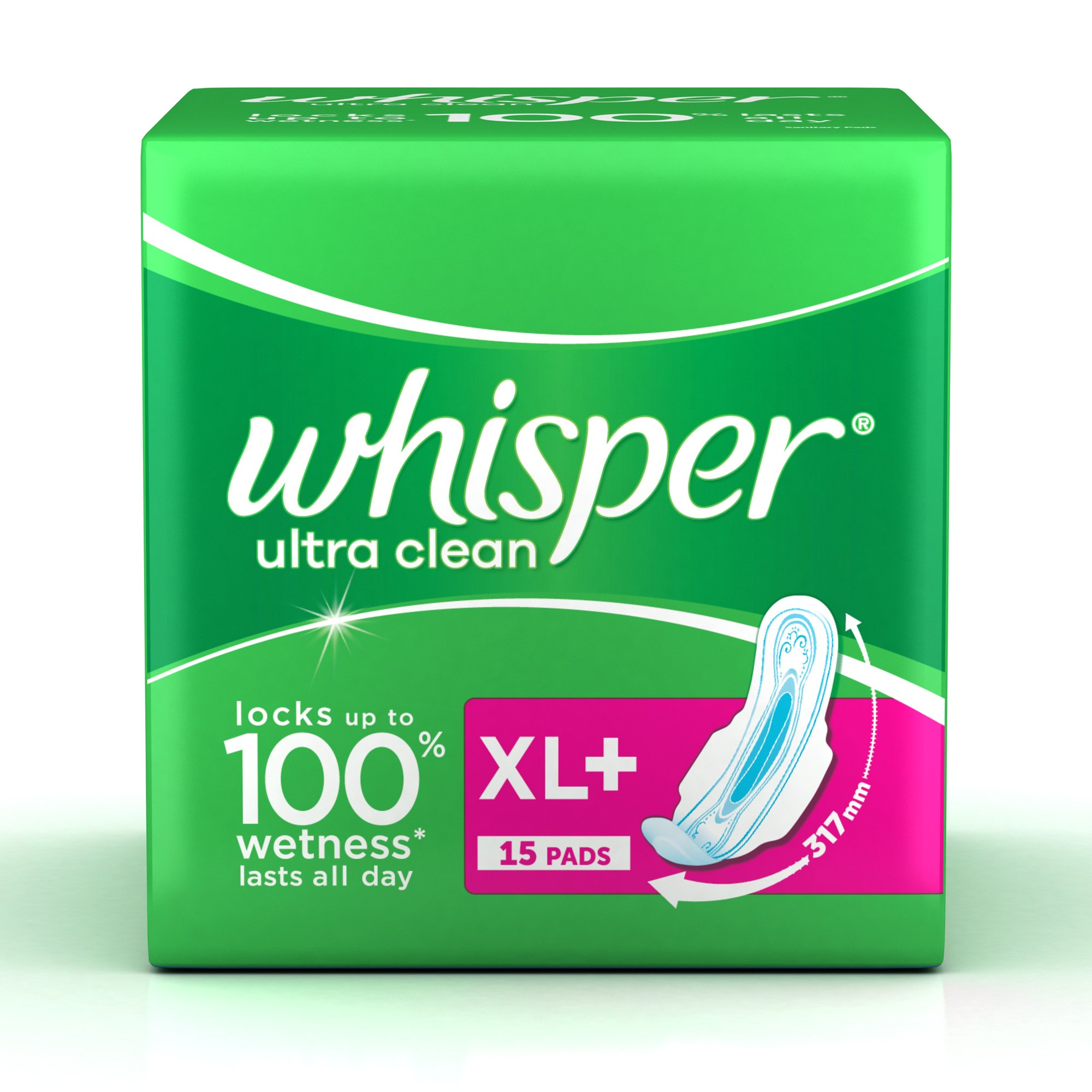 Whisper Ultra Sanitary Pads XL Plus Wings - 15 Count product image