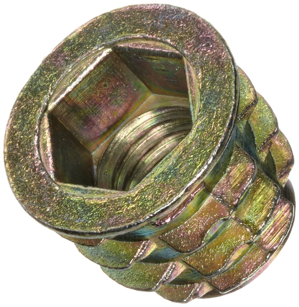 M8-1.25 Internal Threads Hex-Flanged Pack of 25 20mm Length E-Z Lok Threaded Insert Zinc