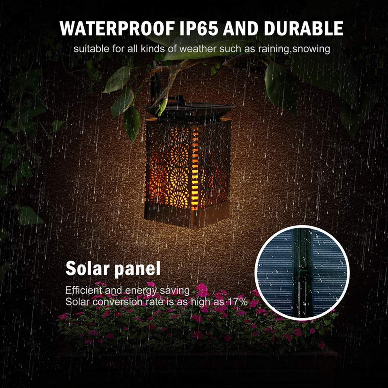 f/ácil montaje y resistente al agua IP65 luz de jard/ín solar 96 luces solares LED antorchas solares para jard/ín l/ámparas solares para exterior con llamas realistas 2 PACK Platz